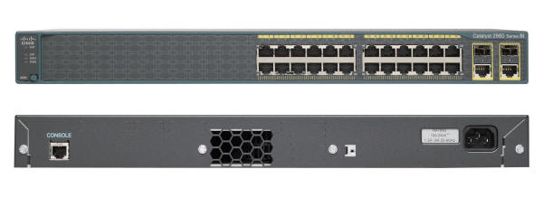 Cisco Catalyst 2960-24TC-S Switch Front and Back